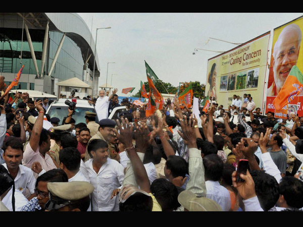 Modi arrives at Bhubaneswar airport