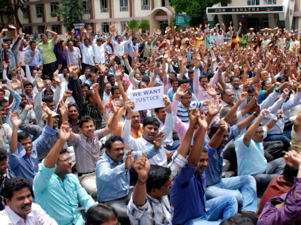 Employees protest in Hyderabad