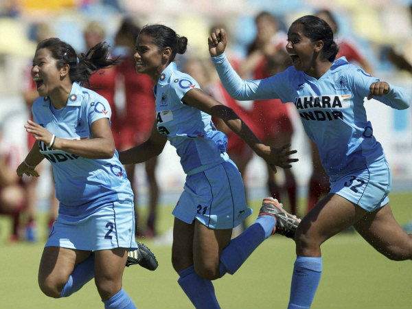 Indian Junior women hockey team players celebrate after winning bronze medal at Junior World Cup (Women) in Monchengladbach