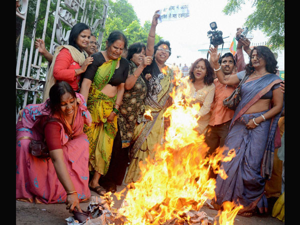 BJP Mahila Morcha protesting against the suspension of IAS officer
