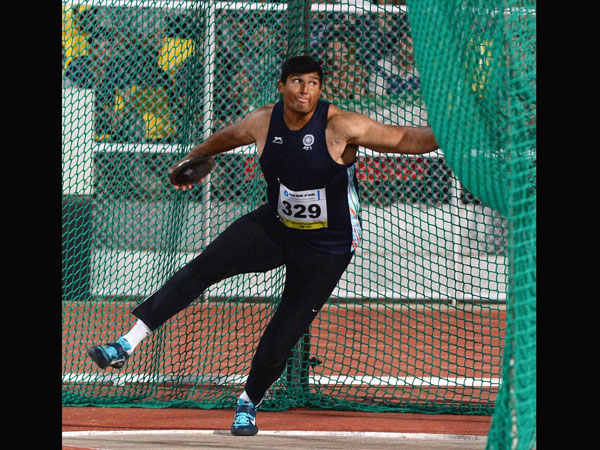 Vikas Gowda in the Asian Athletics Championship