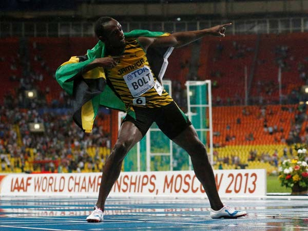 Usain Bolt dancing to the tunes of victory