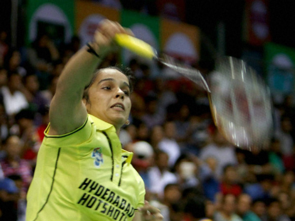 Saina in action against Sindhu on Thursday