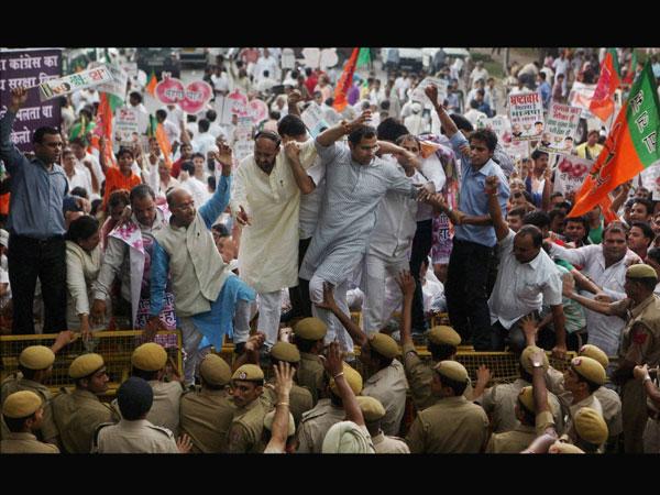 Delhi BJP protests food security program