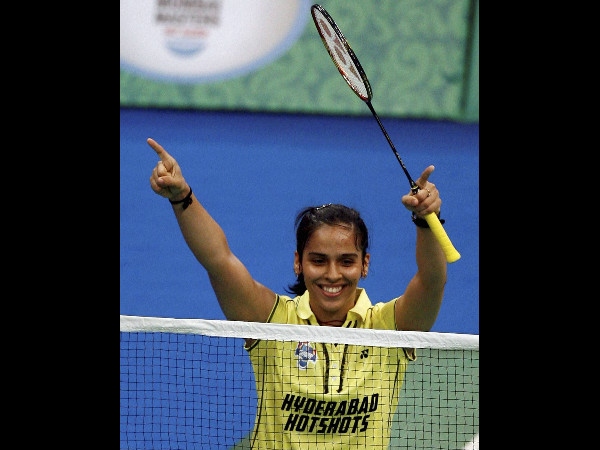 Hyderabad Hotshots' Saina Nehwal celebrates after beating Pune Pistons' Schenk Juliane