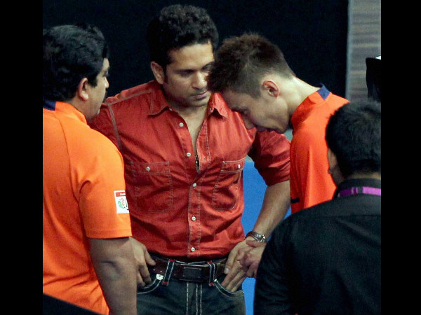 Sachin Tendulkar and Lee Chong Wei at IBL match