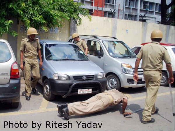 Lucknow police in action