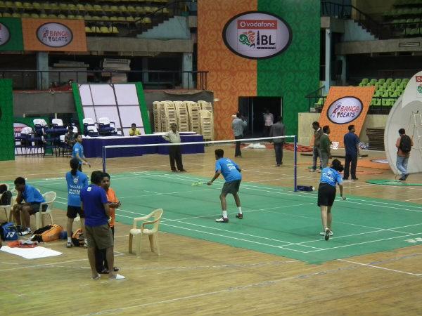 Mumbai Masters' players train at Bangalore's Sree Kanteerava Stadium on Friday evening. Photo: Aprameya .C