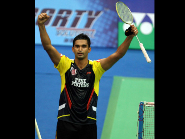Bangalorean Anup Sridhar, who plays for Pune Pistons, celebrates his win. Photo: IBL