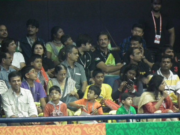 Rahul Dravid watches IBL match with wife (right) and his two sons (second right and second left). Photo: Aprameya .C