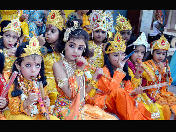 Children dressed as Lord Krishna for the Krishna Janmasthami festival