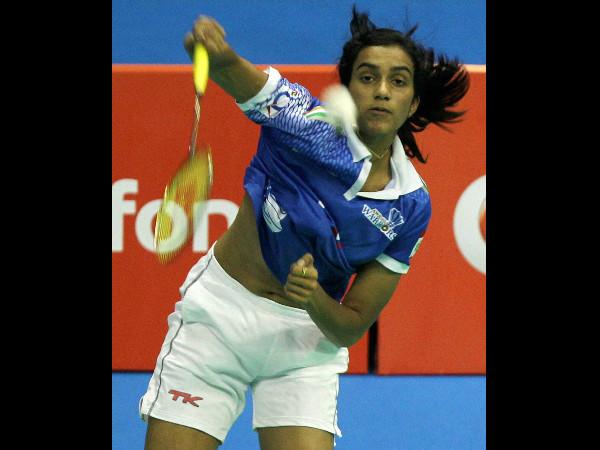 PV Sindhu in action against Tine Baun. Sindhu won