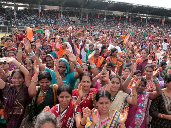 Women supporters at L B Shastri Stadium in Hyderabad