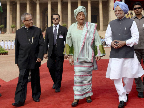 Ceremonial reception of Liberian Prez at Rashtrapati Bhawan