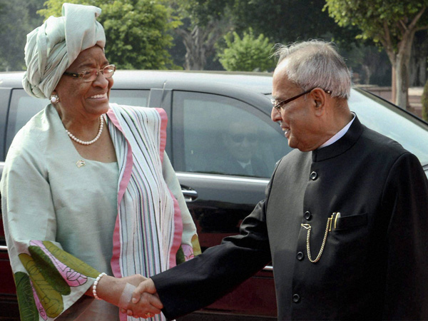Pranab Mukherjee welcomes Sirleaf