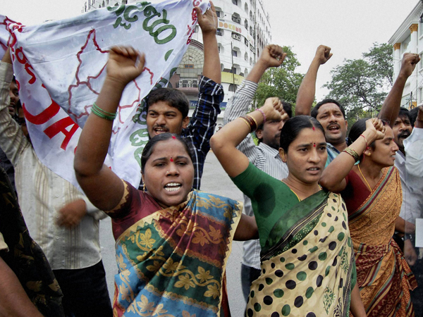 Protests in Seemandhra over Telangana