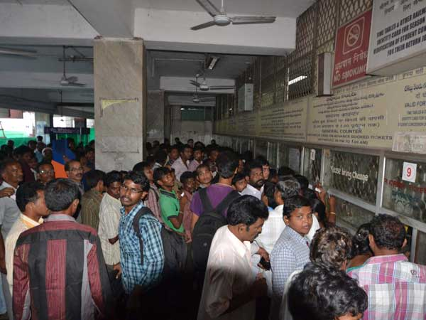 Queue at railway station