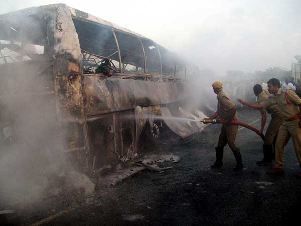 Andhra Volvo bus catches fire