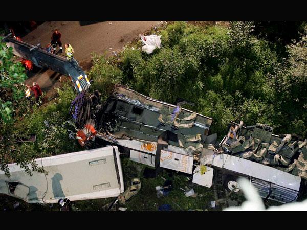 Bus plunges down cliff killing 10