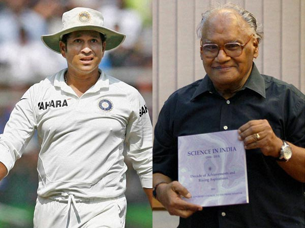 Sachin Tendulkar and Professor CNR Rao