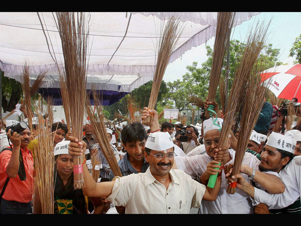 It's raining brooms for the AAP