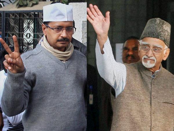 Ansari, Kejriwal cast their votes