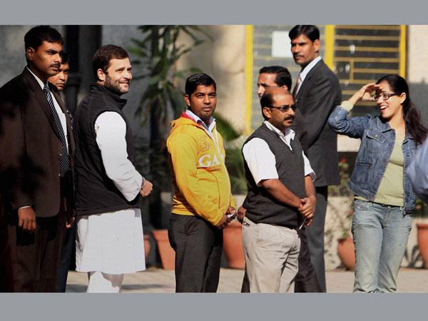 Rahul Gandhi queues up to vote in Delhi