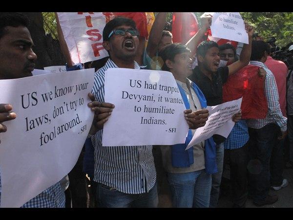 Diplomat row: Protest in Hyderabad