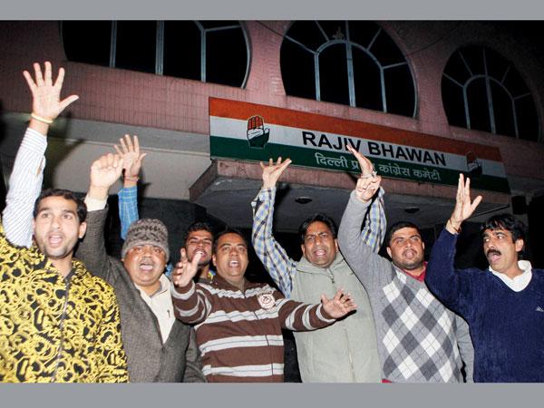 Congress workers protest in Delhi