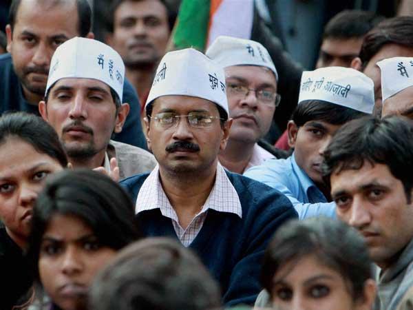 Arvind Kejriwal with AAP leaders