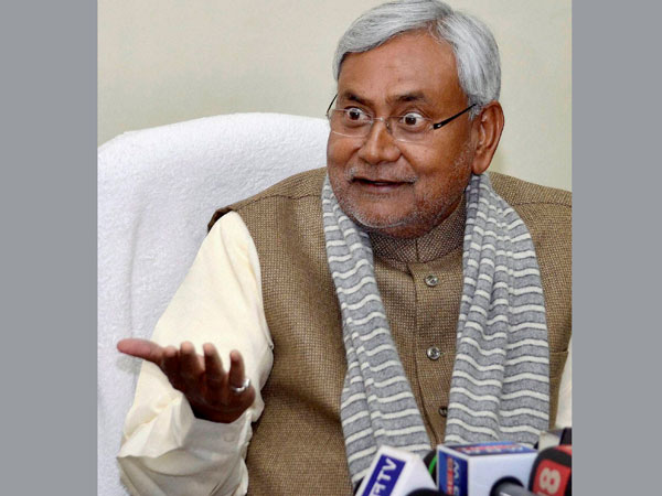 Bihar chief minister Nitish Kumar addressing press conference at his residence in Patna on Monday.