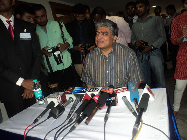 Nandan Nilekani addresses press conference