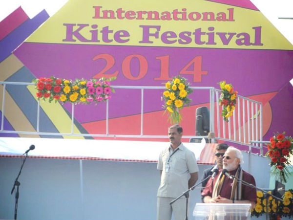 Narendra Modi at the kite-flying ceremony