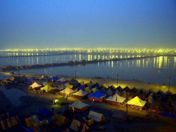 A view of tents at Magh Mela