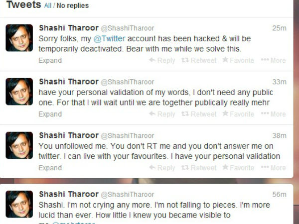 Hacked? :Curious tweets sent to Pak journo from Tharoor's account