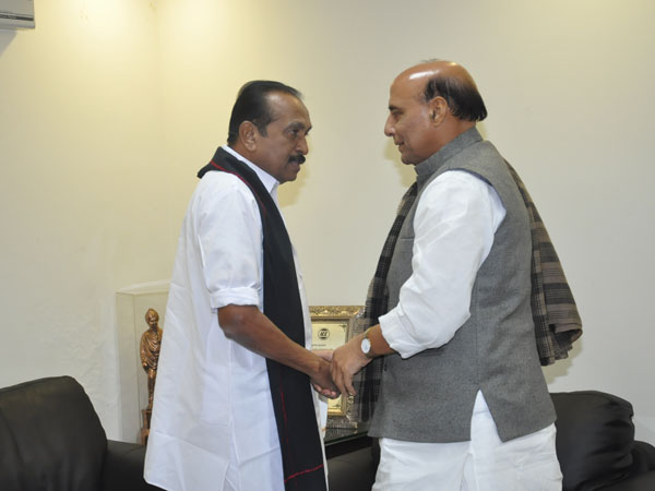 In pics: Vaiko meets Rajnath Singh in Delhi