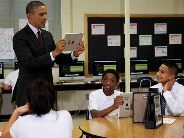 When Obama went to a school