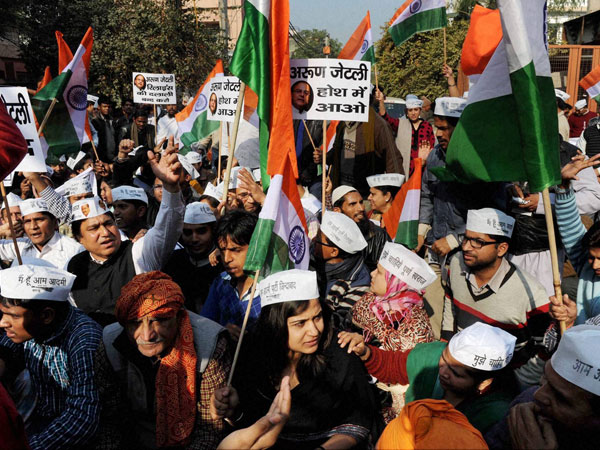 AAP protest outside Jaitley's home