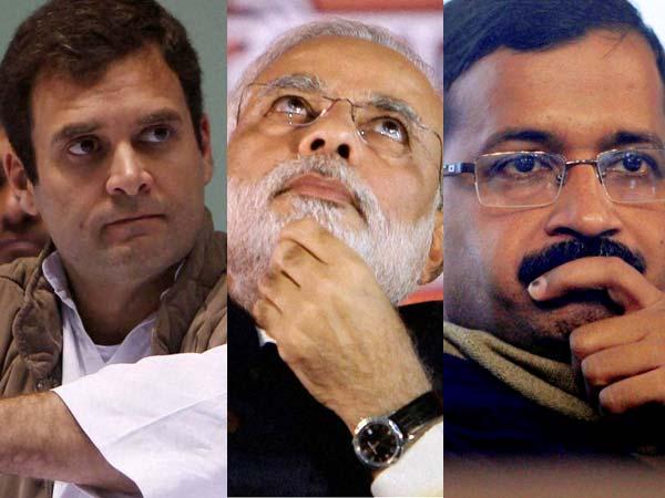 Rahul Gandhi, Narendra Modi and Arvind Kejriwal