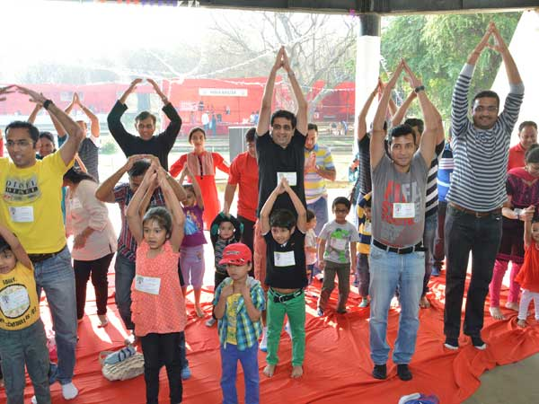 Yoga session for children and parents