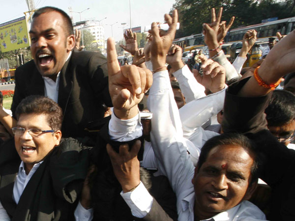 Telangana celebrates after the bill is passed