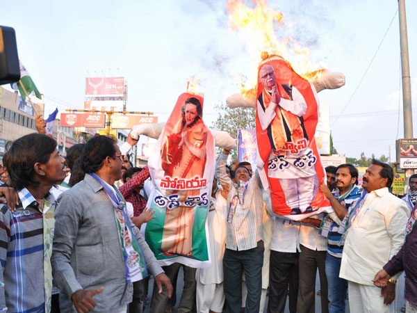 Effigies of Sonia Gandhi were burnt