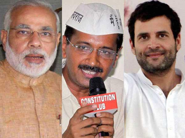 Modi, Kejriwal and Rahul Gandhi