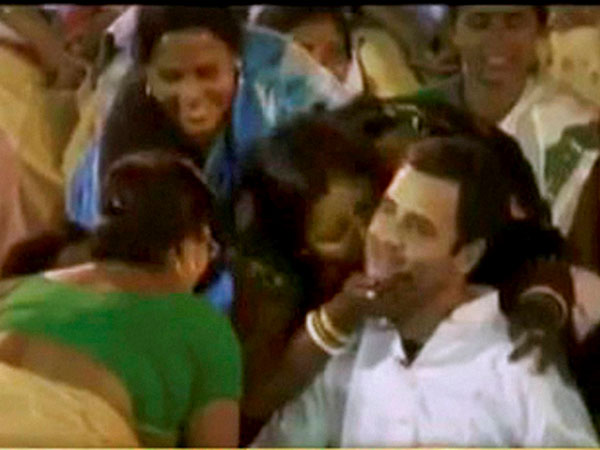Rahul's visit sealed with a kiss
