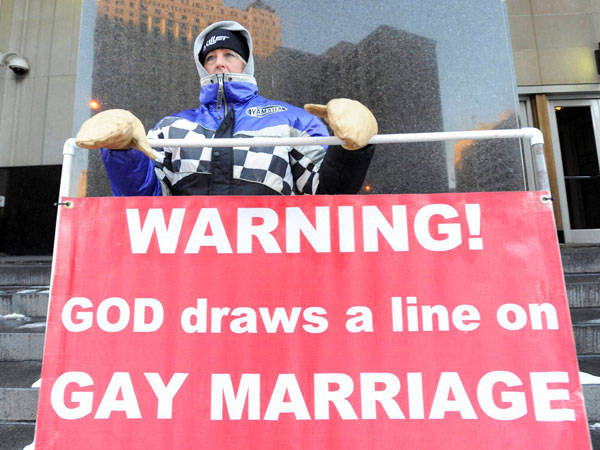 Protests in Detroit over gay marriage