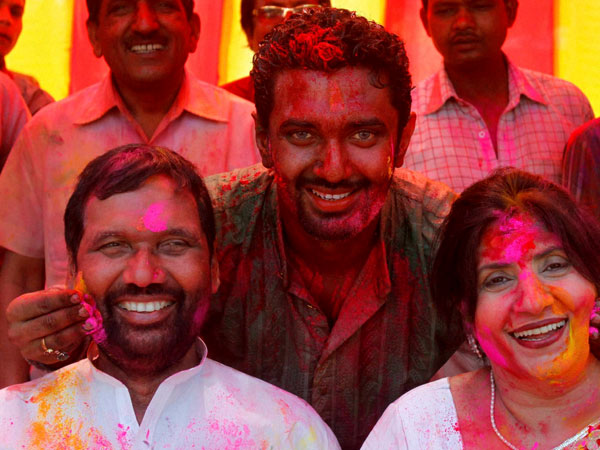 Ram Vilas Paswan with his wife and son Chirag Paswan celebrating 'Holi'