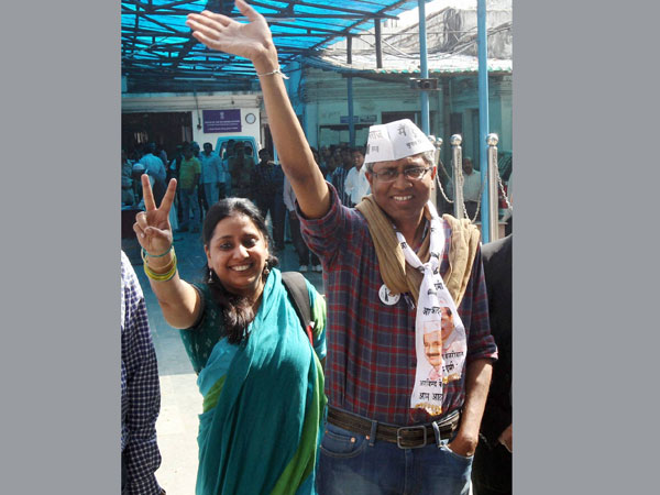 Ashutosh with his wife after filling his nomination
