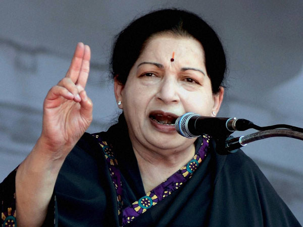 J Jayalalithaa addressing an election campaign