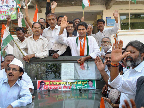 Congress candidate Mohammad Kaif at a road show