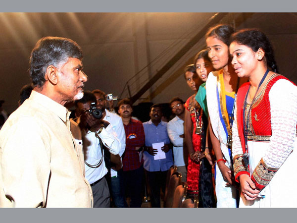 Chandra Babu Naidu meets participants at Andhra Pardesh